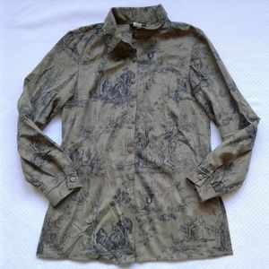 Vtg David Paul Shirt Green Black Toile M